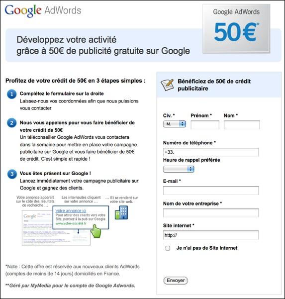 Google AdWords code promo / bon de réduction